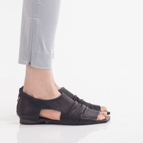 Square toe ruched sandals in Black. 49