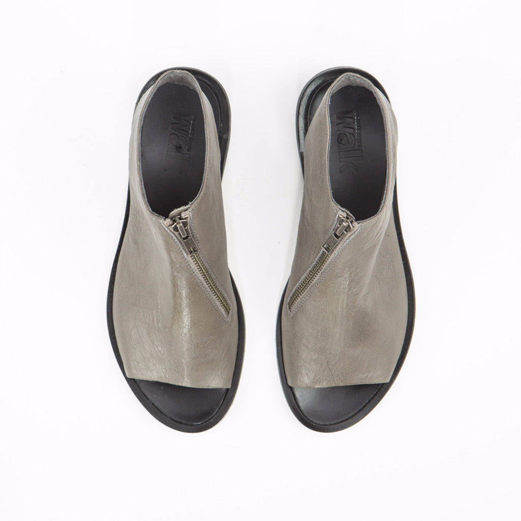 Open back shoes with zipper, Gray