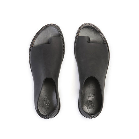 Black open toe flats