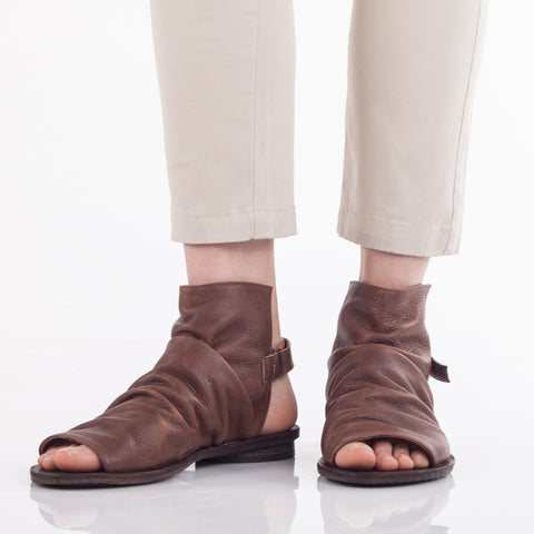 Pleated boot sandals in Brown