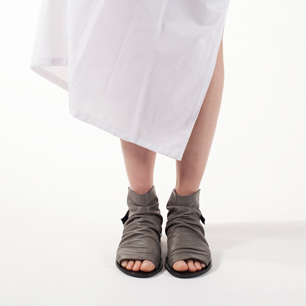 Pleated boot sandals in Gray