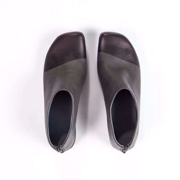 Dipped front flat shoes, Gray&Black. 474