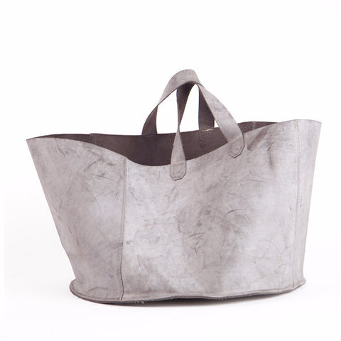 Gray leather basket, Large