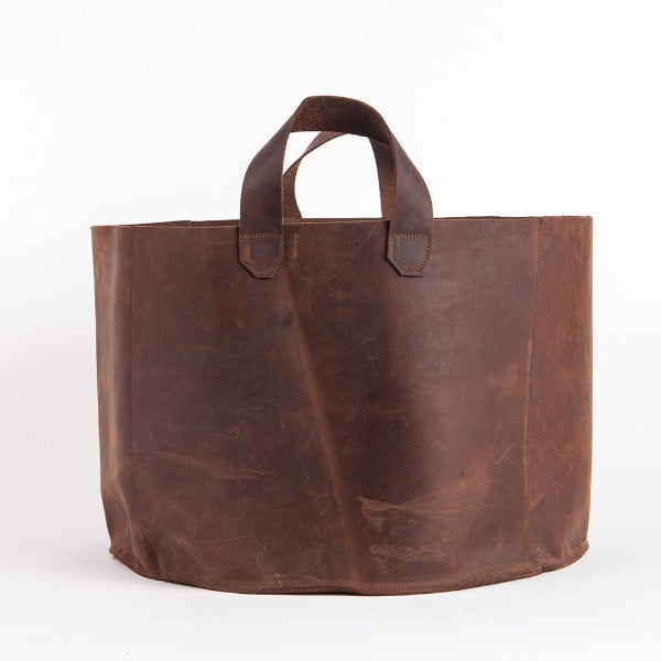 Brown leather basket, Large