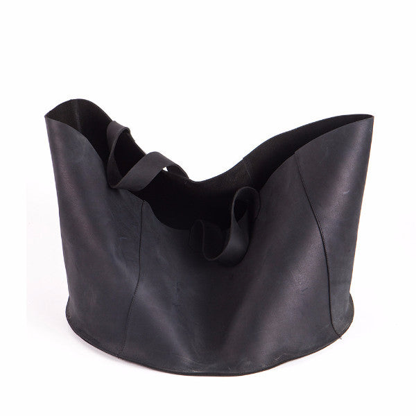 Black leather basket, Large