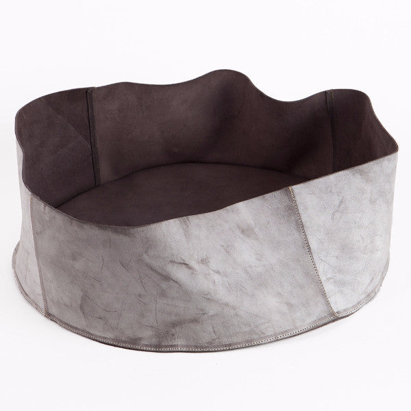 Gray leather basket, Small