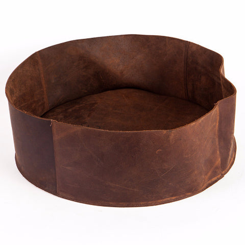 Brown leather basket, Small