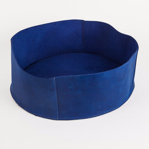 Blue leather basket, Small