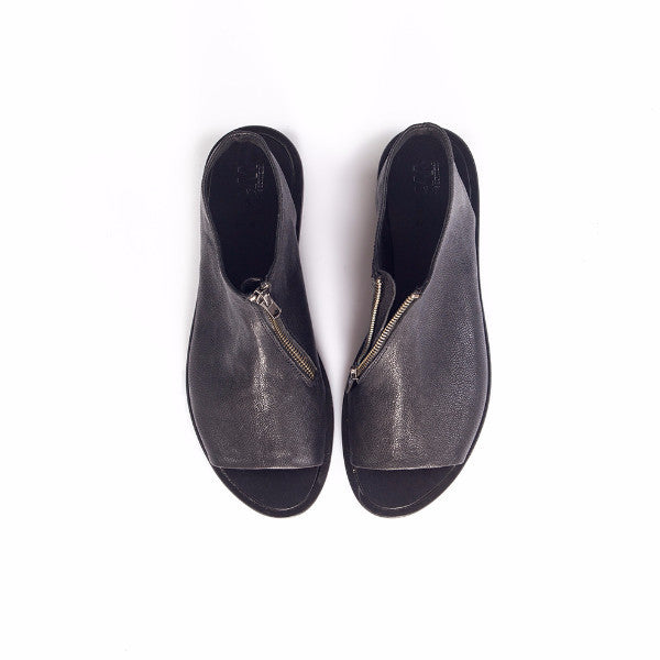 Open back  shoes with zipper, Black. 1011