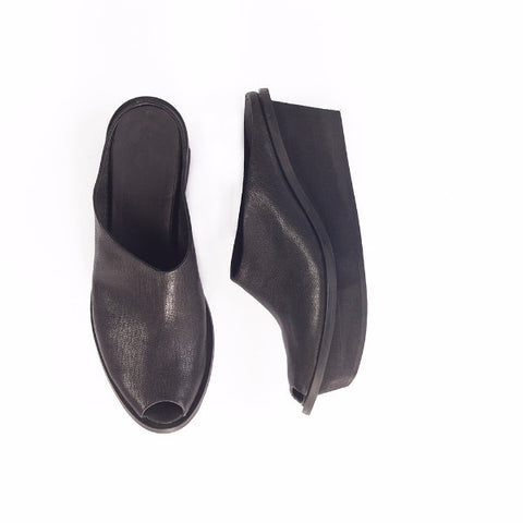 Platform slip on mules in black
