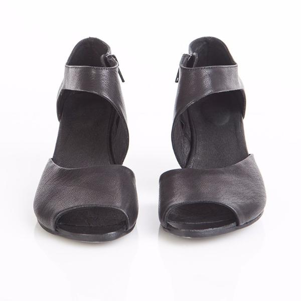 Black high heel sandals. 757