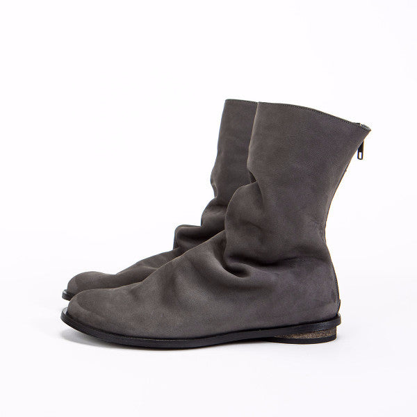 Short Pleated leather boot, Gray