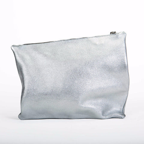 Silver asymmetrical Leather clutch