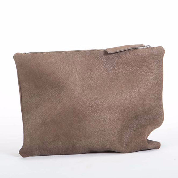 Gray asymmetrical Leather clutch