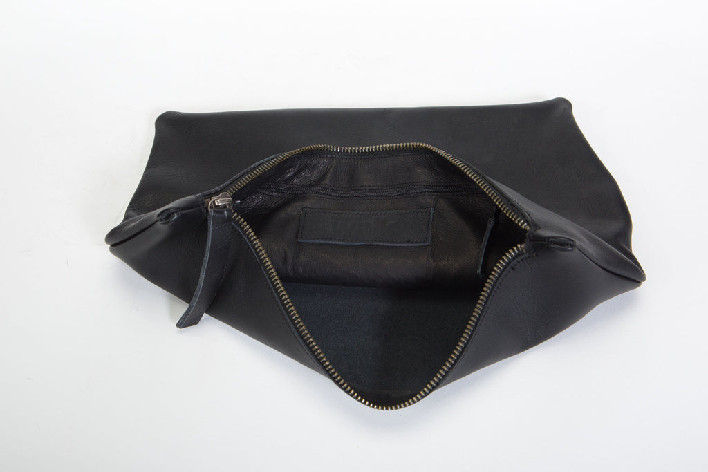 Black asymmetrical Leather clutch