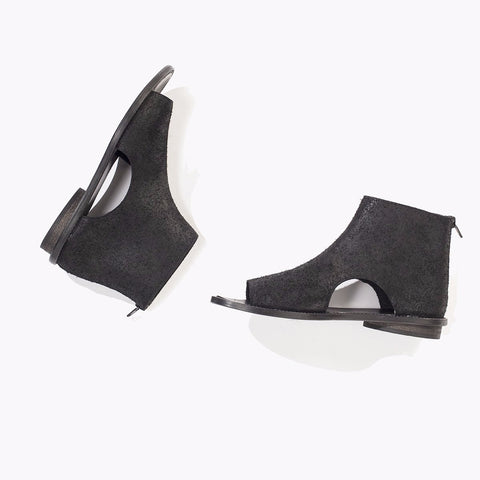 Open sides summer booties in black. 99