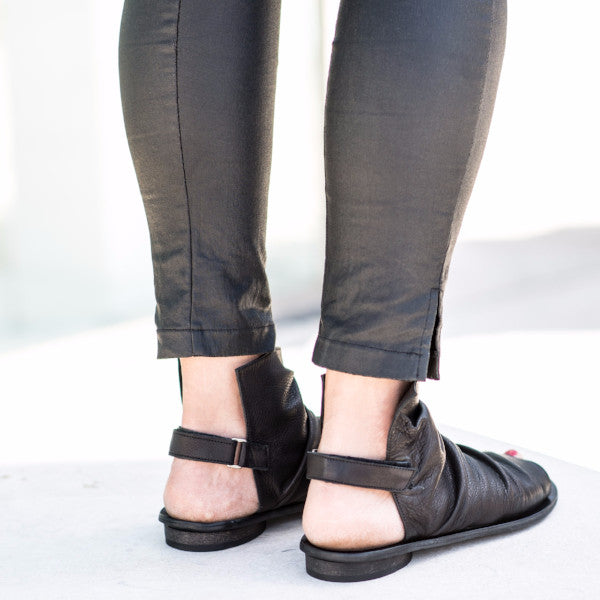 Pleated boot sandals for women, in Black. 95