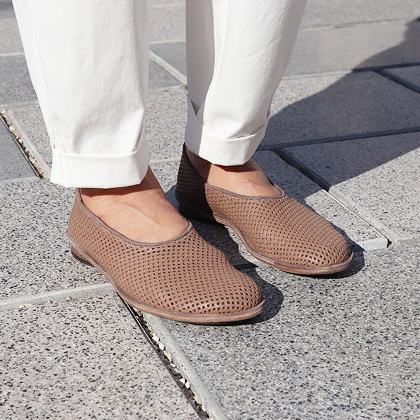 Taupe perforated loafers. 20p