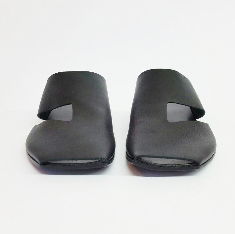 Square toe slides in Black. 51