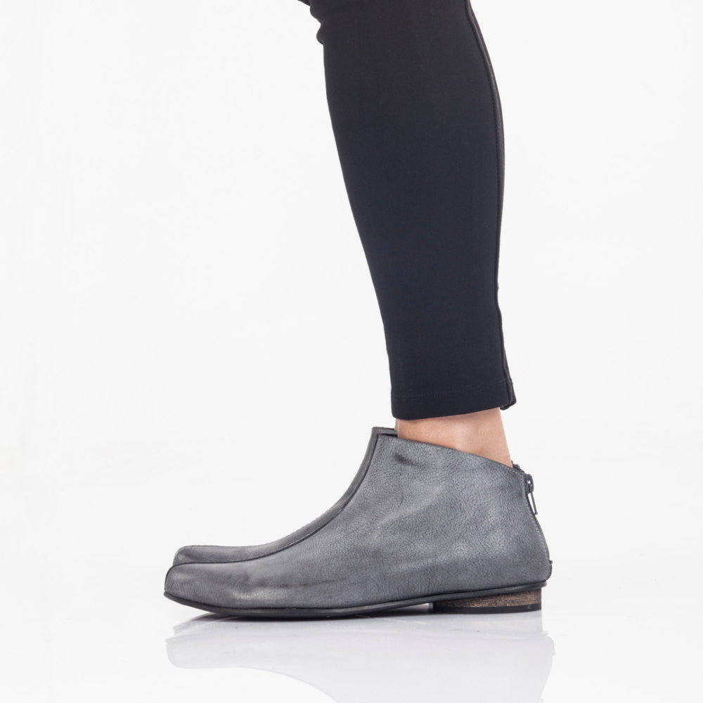 Gray leather ankle boots