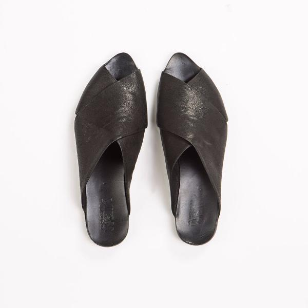 pointy toe criss cross mules in black. 50