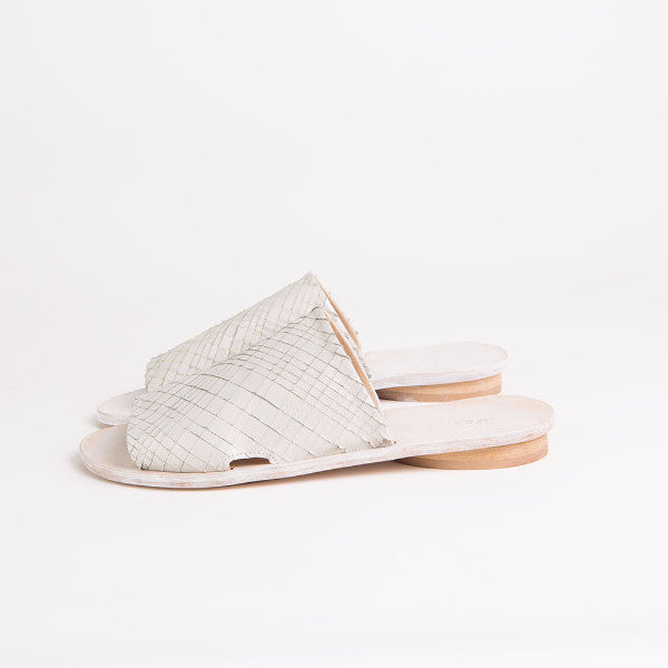 White leather slides