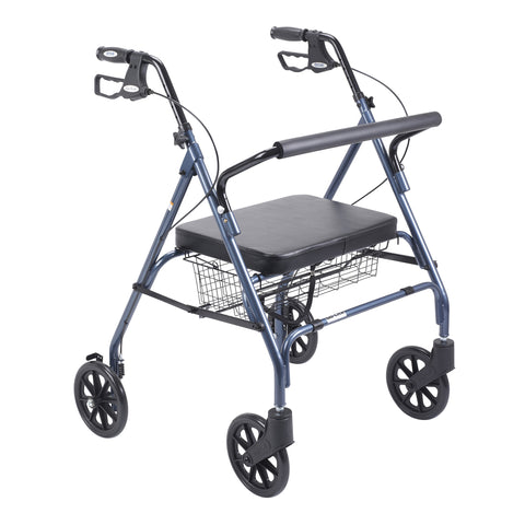Heavy Duty Bariatric Rollator Rolling Walker with Large Padded Seat, Blue
