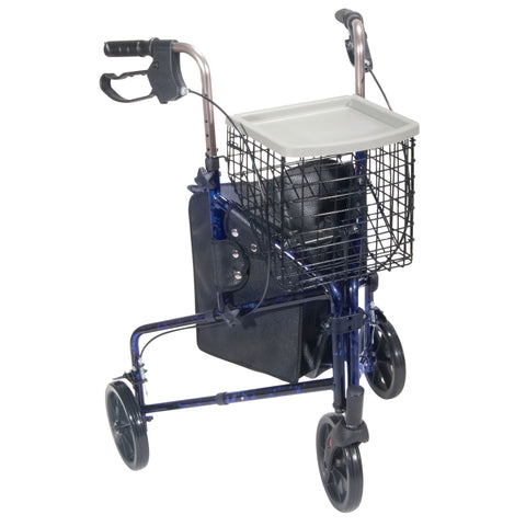 3 Wheel Rollator Rolling Walker with Basket Tray and Pouch, Flame Blue