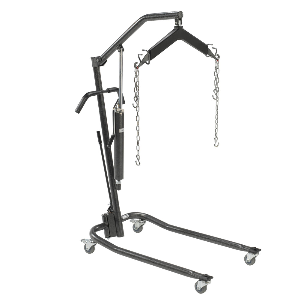 "Hydraulic Patient Lift with Six Point Cradle, 3"" Casters, Silver Vein"