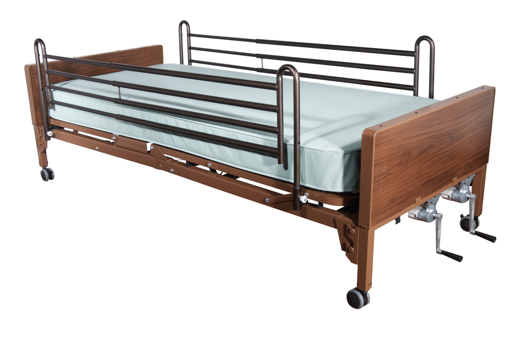 Multi Height Manual Hospital Bed with Full Rails and Therapeutic Support Mattress