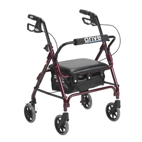 Junior Rollator Rolling Walker with Padded Seat, Red