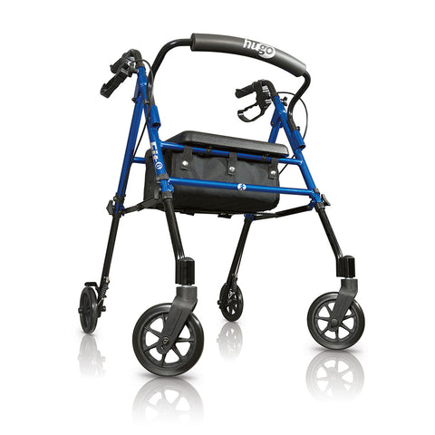 Fit Rollator Rolling Walker with Padded Seat, Backrest and Storage Bag, Pacific Blue