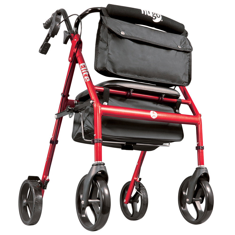 Elite Rollator Rolling Walker with Seat, Backrest and Saddle Bag, Garnet Red