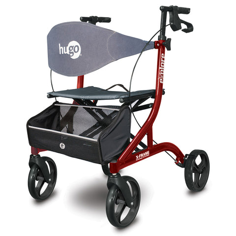 Explore Side-Fold Rollator Rolling Walker with Seat, Backrest and Folding Basket, Cranberry