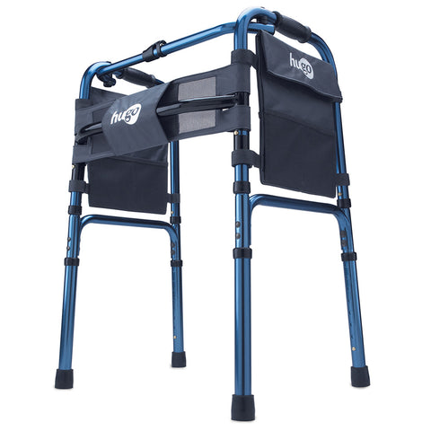 "Adjustable Folding Walker With 5"" Wheels and Plastic Glides, Sapphire Blue"