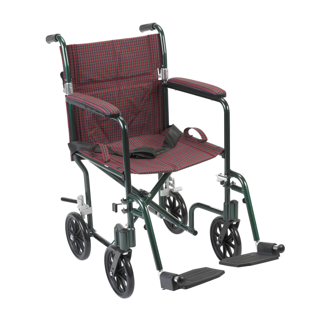 "Flyweight Lightweight Folding Transport Wheelchair, 19"", Green Frame, Burgundy Upholstery"