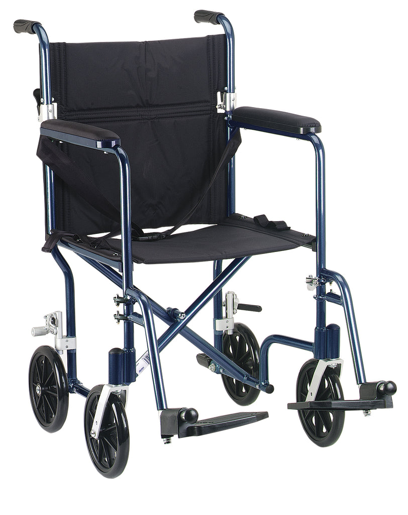 "Flyweight Lightweight Folding Transport Wheelchair, 19"", Blue Frame, Black Upholstery"