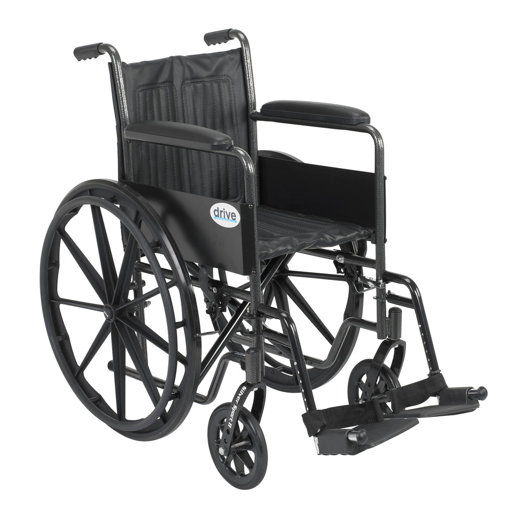 "Silver Sport 2 Wheelchair, Non Removable Fixed Arms, Swing away Footrests, 18"" Seat"