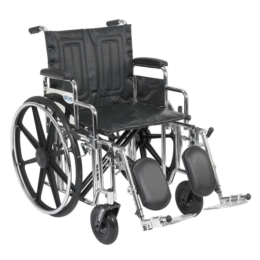 "Sentra Extra Heavy Duty Wheelchair, Detachable Desk Arms, Elevating Leg Rests, 20"" Seat"