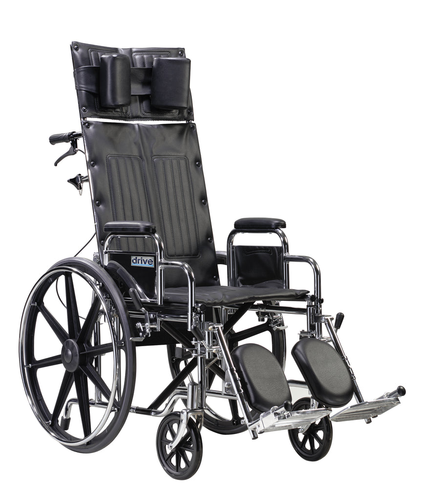 "Sentra Reclining Wheelchair, Detachable Desk Arms, 22"" Seat"