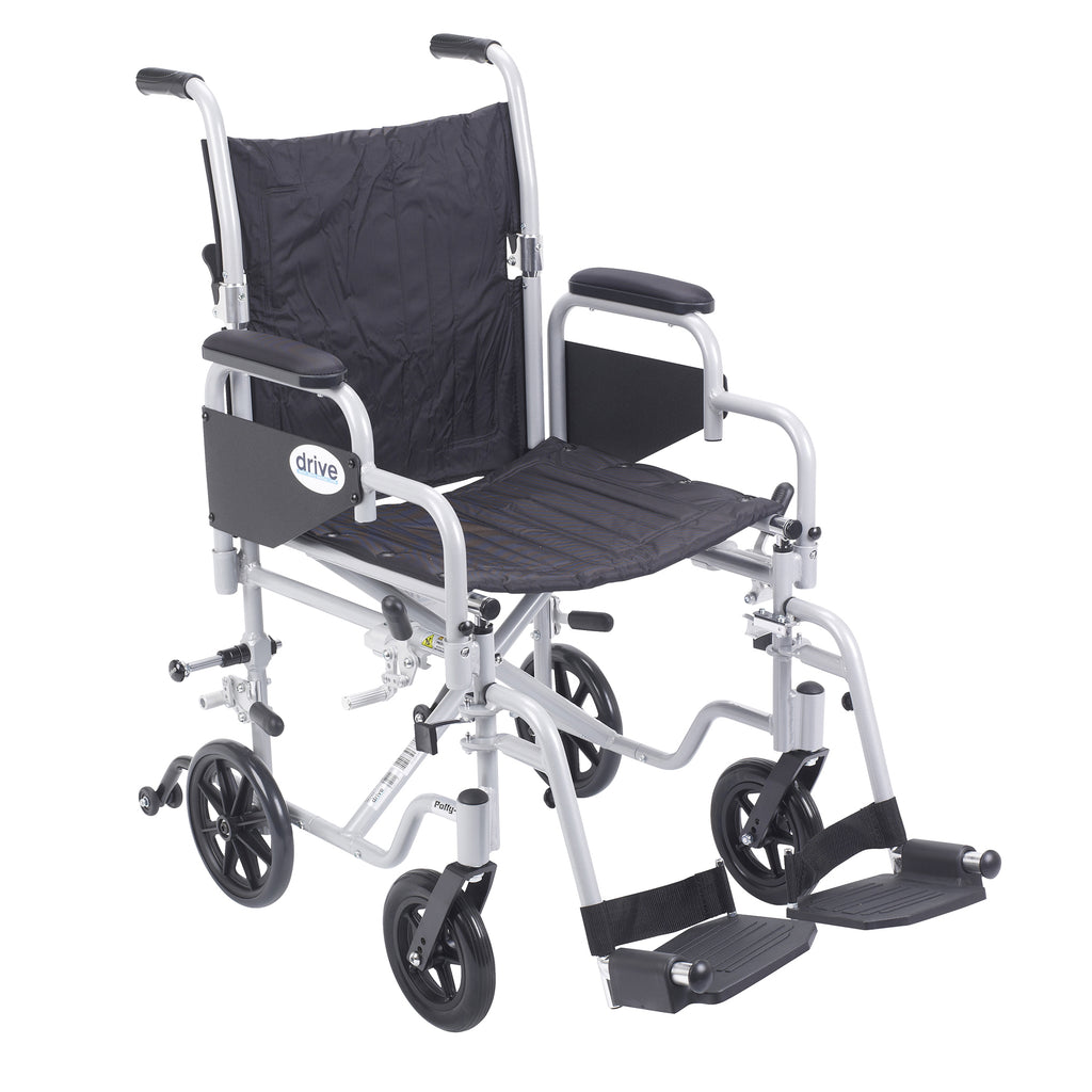 "Poly Fly Light Weight Transport Chair Wheelchair with Swing away Footrests, 18"" Seat"