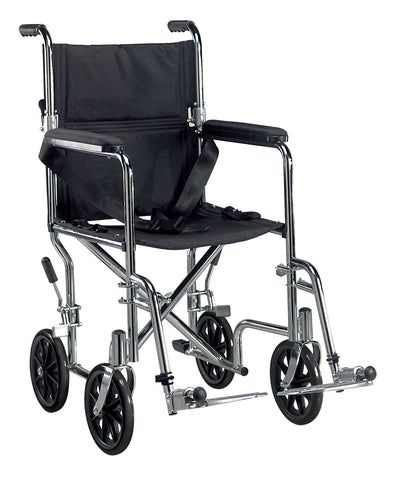 "Go Cart Light Weight Steel Transport Wheelchair with Swing Away Footrest, 19"" Seat"
