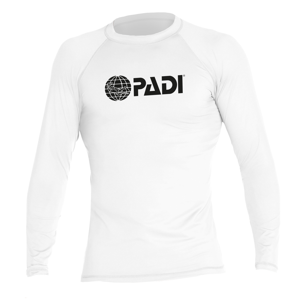 Unisex Long Sleeve PADI Rash Guard-White