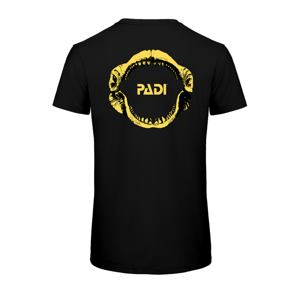 PADI GEAR - PADI Yellow Megalodon Black T-Shirt