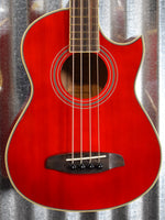 Ortega Guitars Deep Traveler D-Walker-RD Red Short Scale Acoustic Electric Bass & Bag #6021 B Stock
