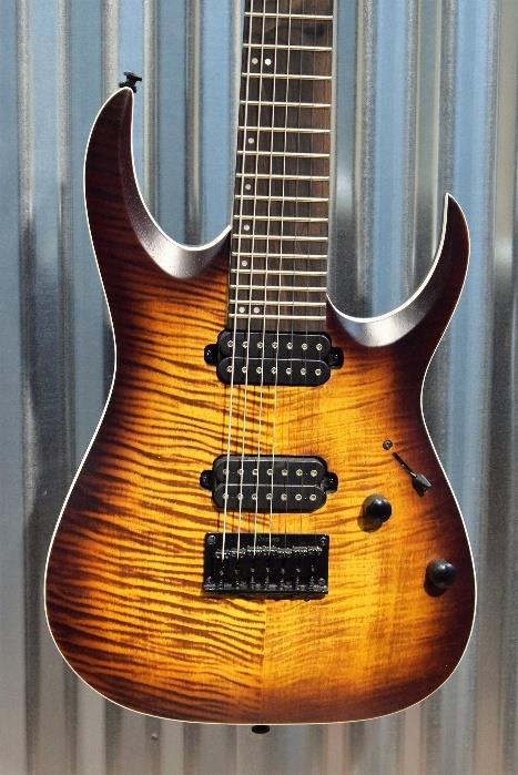 Ibanez RGA742FM 7 String Guitar Flame Dragon Eye Burst Dimarzio Sperzel & Bag