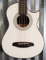 Ortega Guitars Deep Traveler D-Walker-WH White Short Scale Acoustic Electric Bass & Bag #1308