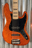 G&L Guitars USA JB5 5 String Jazz Bass JB Orange Metal Flake & Case JB-5 2018 #0033