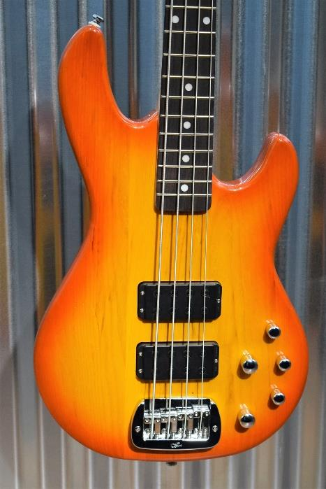 G&L Tribute M-2000 4 String Bass Honeyburst 3 Band Active EQ & Case M2000 #3614