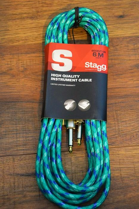 "Stagg SGC6VT Vintage Tweed 6M 20' Guitar Instrument Signal 1/4"" Cable GR Green"